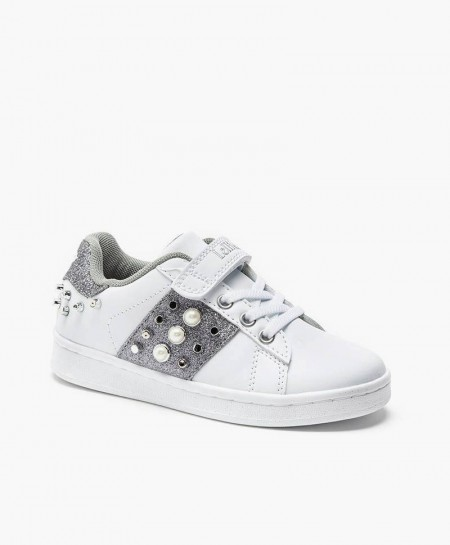 Lelli Kelly Sneaker Blanco Plata Tachuelas Niña