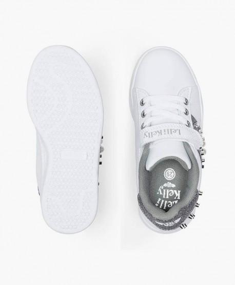 Lelli Kelly Sneaker Blanco Plata Tachuelas Chica en Kolekole