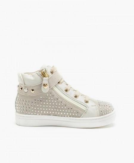 Botines Sneakers TWINSET De Piel Color Hueso Para Niña en Kolekole