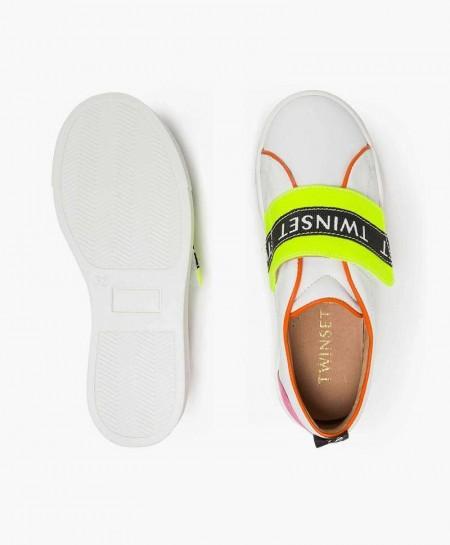 Zapatillas TWINSET blancas con Logo en Piel para Chica y Mujer