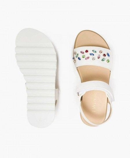 Sandalias TWINSET Blancas de Piel para Niña