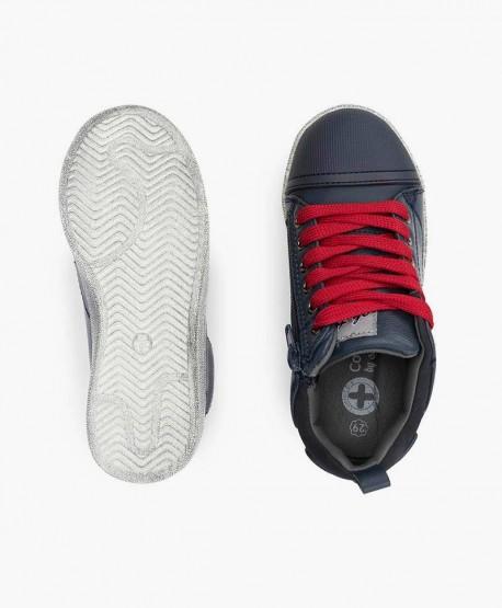 Sneakers CHETTO Azul de Piel Cordones Rojos para Niño 3 en Kolekole