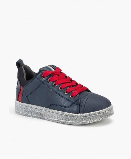 Sneakers CHETTO Azul de Piel Cordones Rojos para Niño 0 en Kolekole
