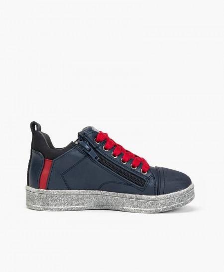 Sneakers CHETTO Azul de Piel Cordones Rojos para Niño
