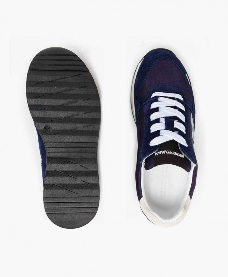 Emporio Armani Sneaker Azul Marino Piel Jóvenes en Kolekole