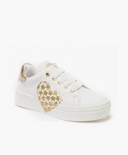 Sneakers ASSO Blancos Plataforma Corazón Niña