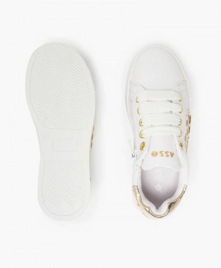 Sneakers ASSO Blancos con Plataforma y Corazón para Niña