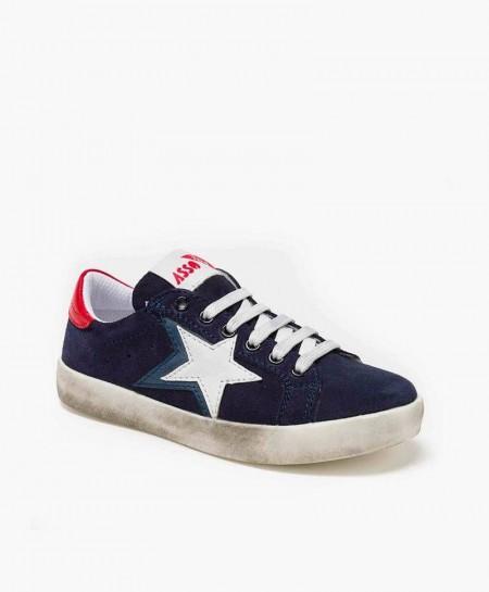 Sneakers ASSO Azul Marino con Estrella Niña y Niño