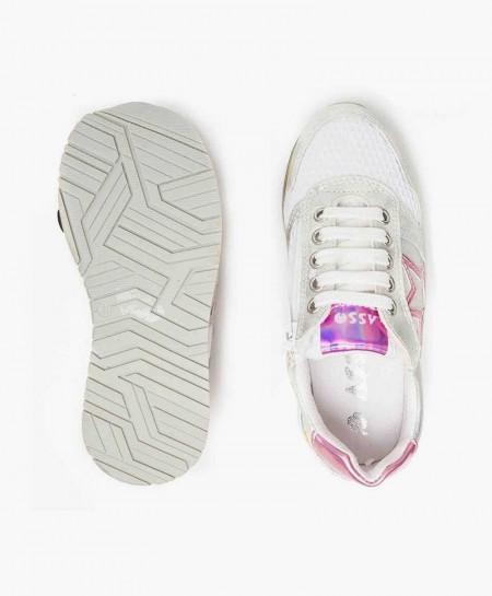 Zapatillas ASSO Blancas con Estrella Rosa para Niña
