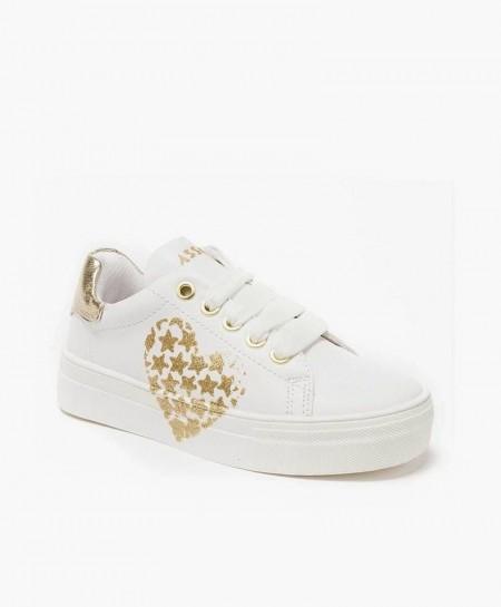 Asso Sneaker Blanco Plataforma Corazón Chica
