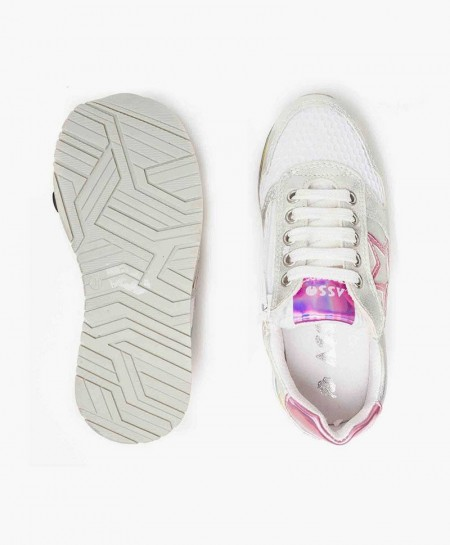 Zapatillas ASSO Blancas con Estrella Rosa para Chica