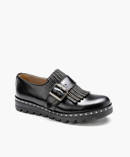 Zapatos ELI de Piel Negros con Hebilla para Chica y Mujer