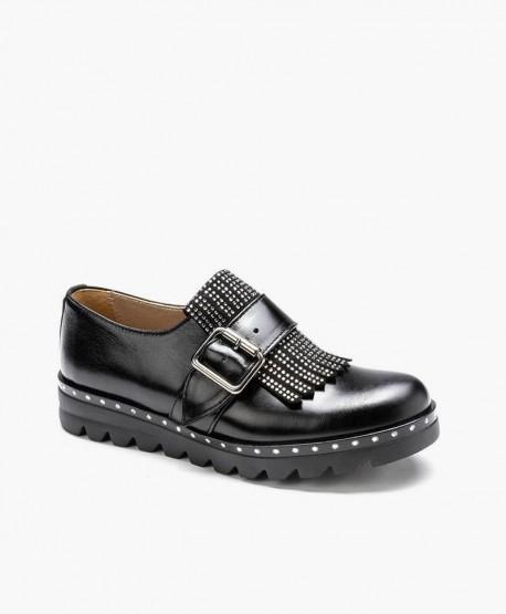 Zapatos ELI de Piel Negros con Hebilla para Chica y Mujer 3 en Kolekole