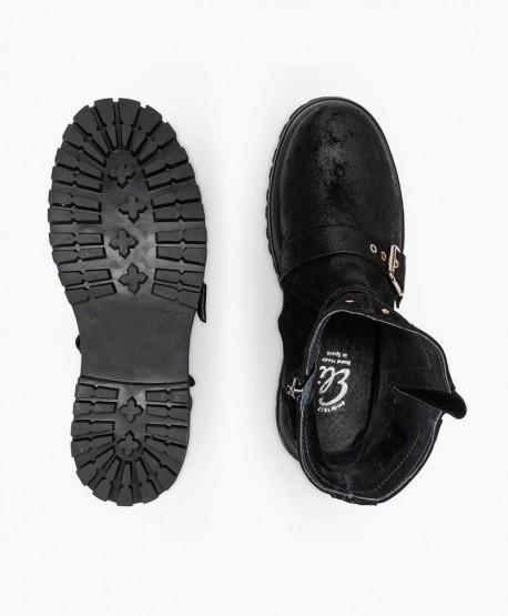 Zapatos ELI. Botas Moteras Negras de Piel para Chica y Mujer 3 en Kolekole