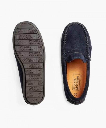 Zapatos Mocasines ATLANTA MOCASSIN Azul Marino Piel Ante Chica y Chico