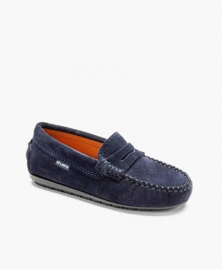 Zapatos Mocasines Azul Marino de Piel Ante para Chicos