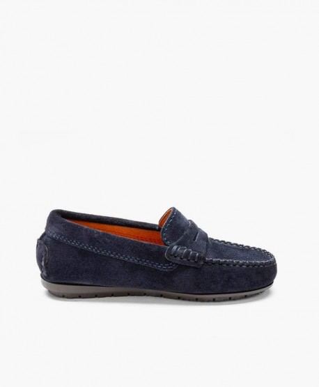 Zapatos Mocasines ATLANTA MOCASSIN Azul Marino Piel Ante Chica y Chico en Kolekole