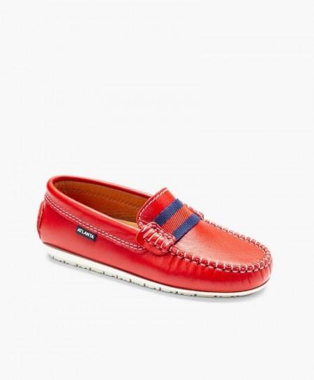 Zapatos Mocasines ATLANTA MOCASSIN Rojos de Piel para Chica