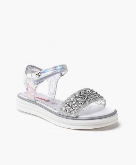 Asso Sandalia Plata Perlas Niña