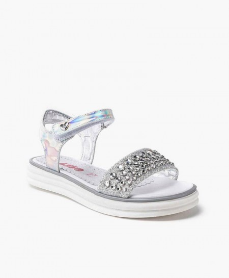 Asso Sandalia Plata Perlas Niña en Kolekole