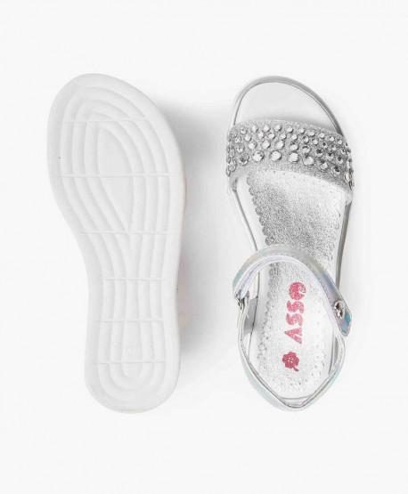 Sandalias ASSO Plata y Perlas para Chica y Mujer 0 en Kolekole