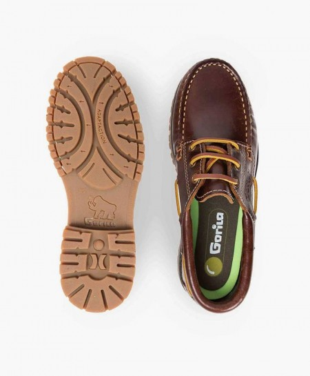 Zapatos Náuticos GORILA Marrón de Piel Niña y Niño