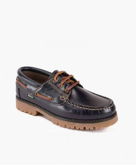 Zapatos Naúticos GORILA Azul Marino de Piel para Niños