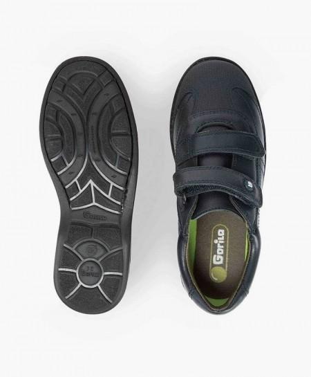 Zapatos Colegiales GORILA Azul Marino de Piel con Doble Velcro para Niño en Kolekole