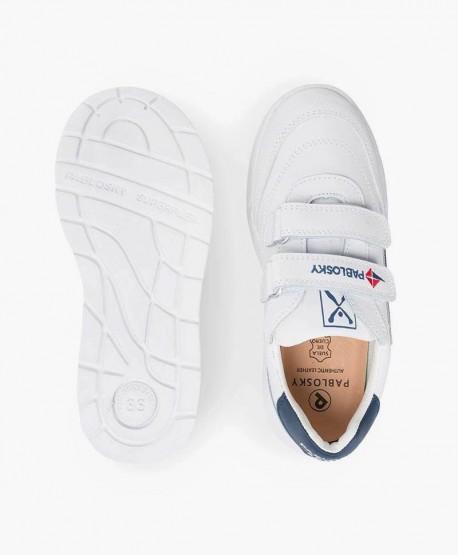 Zapatillas PABLOSKY Blancas de Piel Logo Azul para Niños 3 en Kolekole