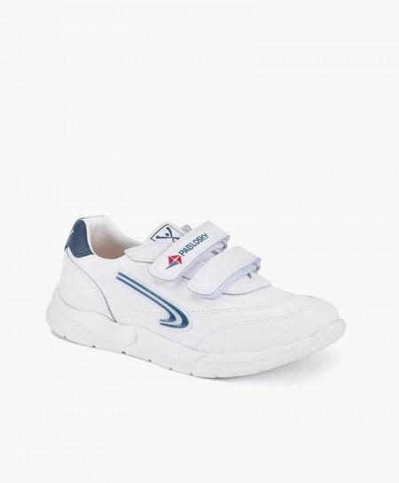 Zapatillas PABLOSKY Blancas Piel Logo Azul Niña y Niño