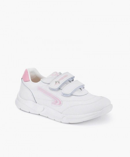 Zapatillas PABLOSKY Blancas de Piel con Logo Rosa para Niña