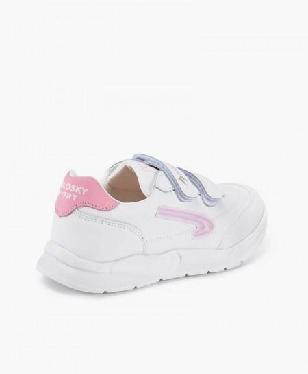 Zapatillas PABLOSKY Blancas de Piel Logo Rosa para Niña 0 en Kolekole