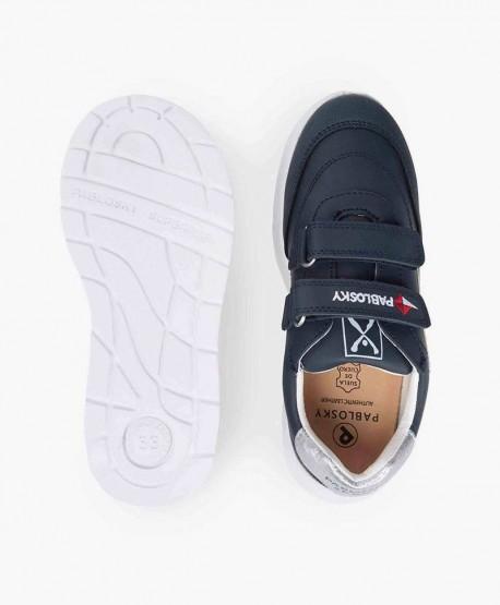 Zapatillas PABLOSKY Azul de Piel Logo Blanco para Niños 3 en Kolekole