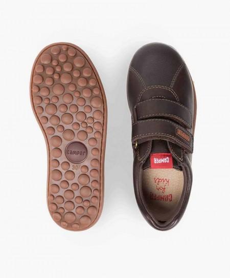 Zapatos Pelotas CAMPER Marrón de Piel con Velcro para Niño