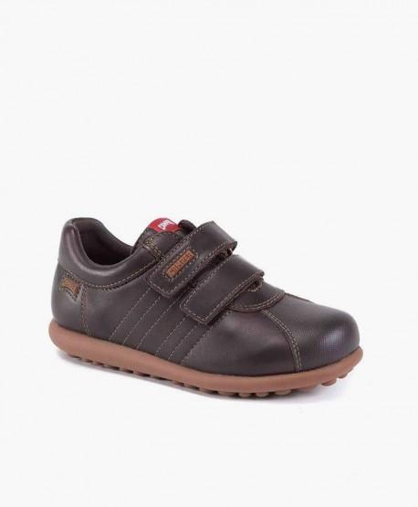 Zapatos Pelotas CAMPER Marrón de Piel con Velcro para Niño 2 en Kolekole