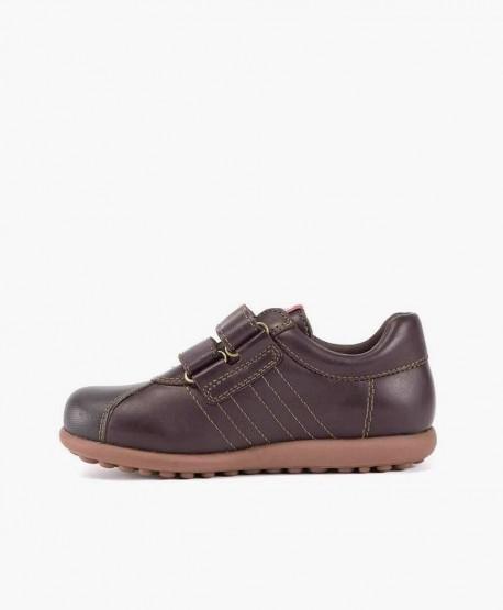 Zapatos Pelotas CAMPER Marrón de Piel con Velcro para Niño 3 en Kolekole