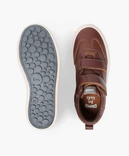 Sneakers Deportivos CAMPER Marrón de Piel con Velcro para Niño