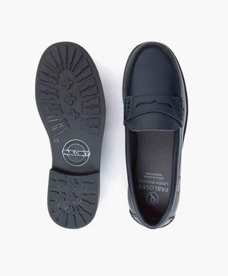 Zapatos Mocasines PABLOSKY Azul Piel Chica y Chico 0 en Kolekole