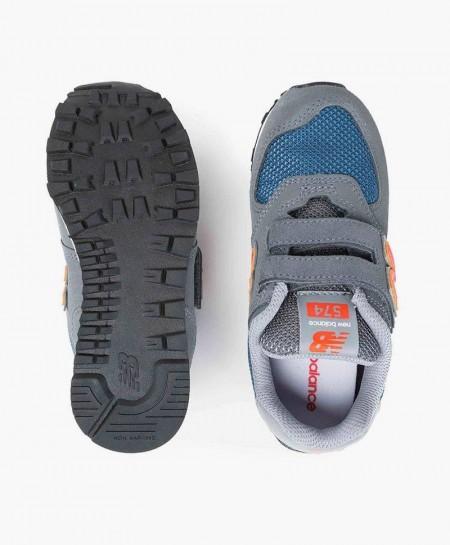 Zapatillas NEW BALANCE Gris Naranja con Velcro para Niños 3 en Kolekole