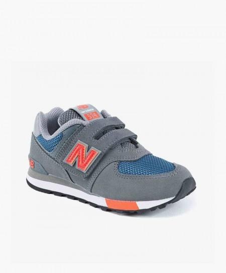 Zapatillas NEW BALANCE Gris Naranja con Velcro Niña y Niño