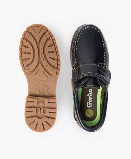 Zapatos Náuticos GORILA Azul Piel Velcro Niña Niño 0 en Kolekole
