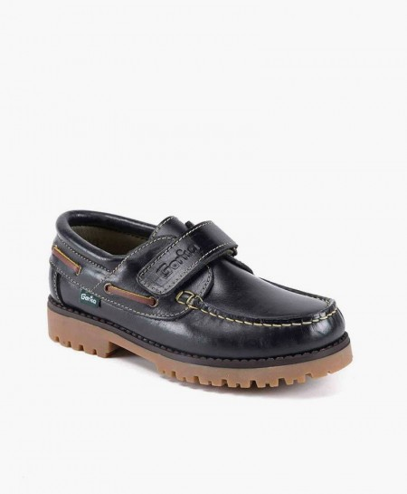 Zapatos Naúticos GORILA Azul Marino de Piel con Velcro para Niños