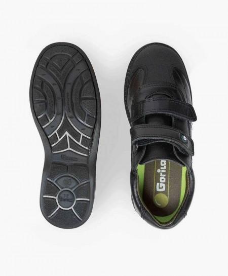 Zapatos Colegiales GORILA Negros Piel con Doble Velcro Niño