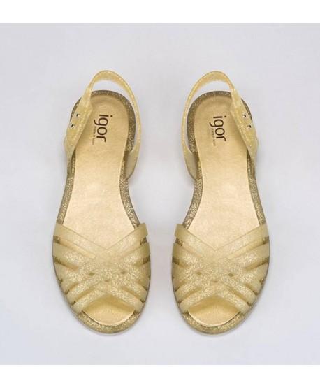 Sandalias Oro Purpurina IGOR Chica Mujer 1 en Kolekole