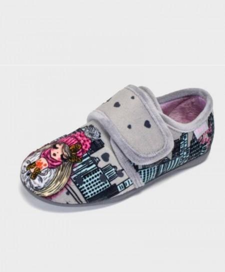 Zapatillas de casa ZAPY Gris Velcro Niña en Kolekole