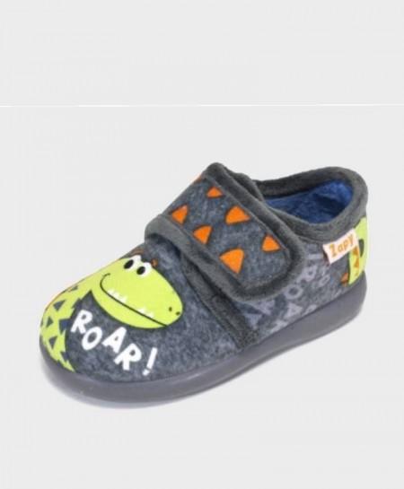 Zapatillas de casa ZAPY Gris Dinosaurio velcro Niño