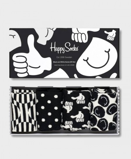 Caja Regalo Calcetines HAPPY SOCKS blancos y negros