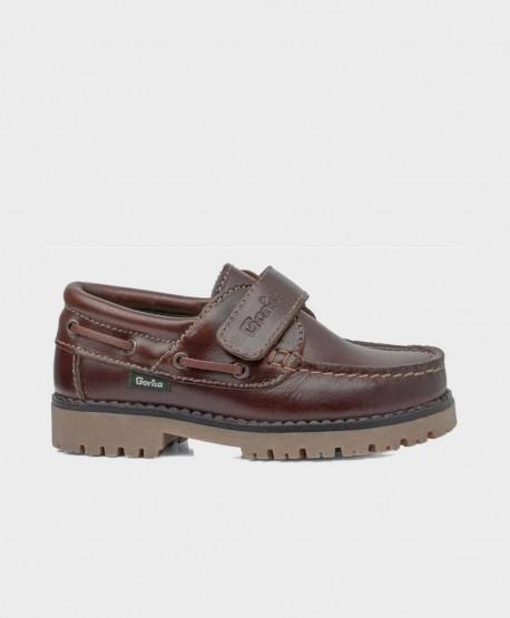 Zapatos Náuticos GORILA Marrón Piel Velcro Niña Niño 0 en Kolekole