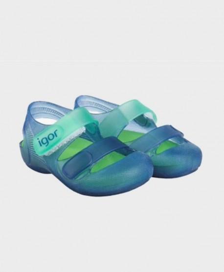 Sandalias Cangrejeras IGOR Azul Verde Niña Niño en Kolekole