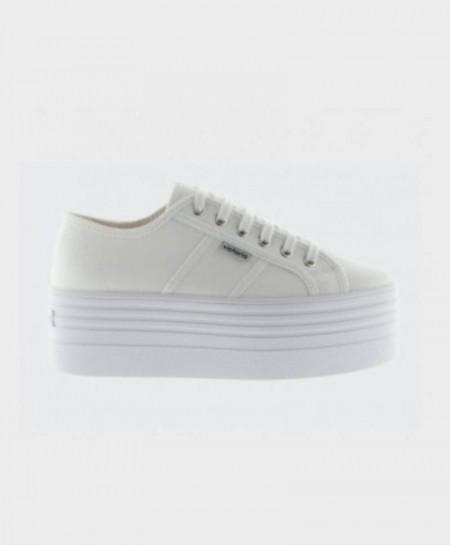 Zapatillas VICTORIA Doble Plataforma Lona Blancas Chica Mujer